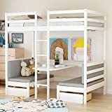 Rhomtree Wood Twin Size Bunk Bed with Desk Underneath and Chair Loft Bed Multifunctional Bed for Boys & Girls Teens Kids Bedroom Dorm