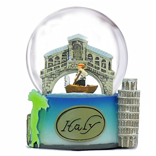 Italy Snow Globe of Rome, Pisa and Venice. (3.5 Inches Tall), 65mm Italy snow globe