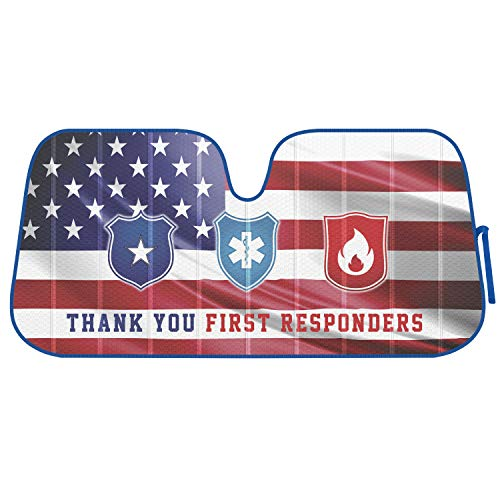BDK Auto Windshield Shade, Police Fire Medical Appreciation, Thank You First Responders, Reversible Foldable Design, Fits Car Truck Van SUV