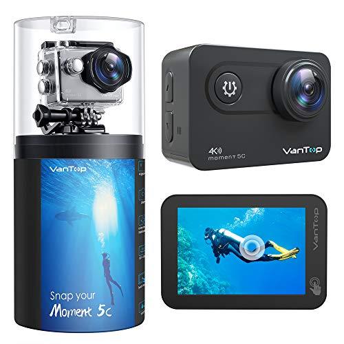 VanTop Moment 5C Action Cam 4K Native con pantalla táctil, WiFi 60 fps 20 MP, EIS actualizado, 2 baterías recargables y accesorios compatibles con GoPro