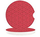 Chic D Drinks Car Coasters 6 Pack for Women/Men, Absorbent Ceramic Automotive Cup Holder Coaster Set, Modern Rubik's Cube Art Red Funny Car Accessories for Car Living Room Kitchen Office,