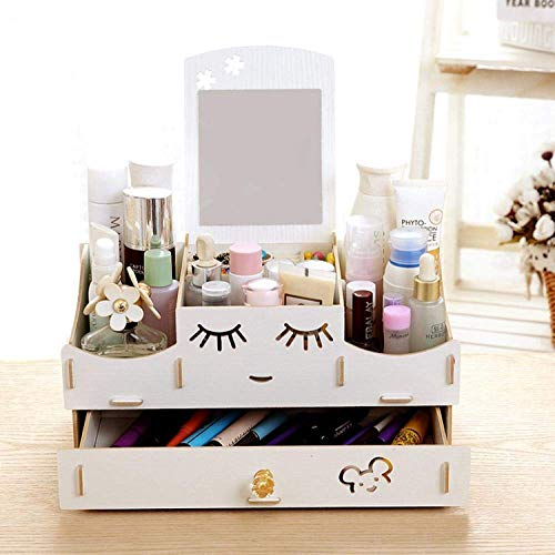 Cosmetische opbergdoos rack, multifunctionele desktop organiseren opbergdoos, for make-up en huidverzorging product rack met spiegel kaptafel, wit LOLDF1