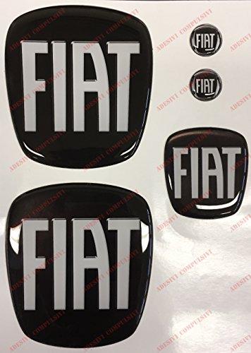 Logo anteriore, posteriore + volante + 2 stemmi per portachiavi. Per cofano e baule. Adesivi resinati, effetto 3D. Fregi colore: nero - bianco