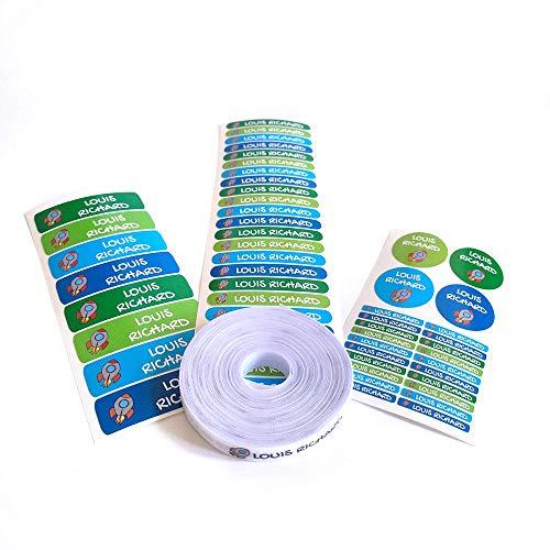 155 Etiketten Packung, um Kleidung zu markieren. 100 Stoffetiketten zum Markieren von Kleidung + 55 Haftetiketten zum Markieren von Gegenständen/Etiketten für Kleidung/Schuletiketten. (Farbe 5)