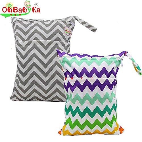 Ohbabyka bébé réutilisable bébé Chiffon humide sec Diaper Organiseur double fermeture éclair Sac