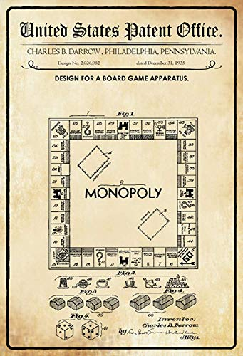 US United States Patent Office Game Board Board Spel Monpoly 1935 metalen bord bord bord gebogen metalen plaat Metal Tin Sign 20 x 30 cm