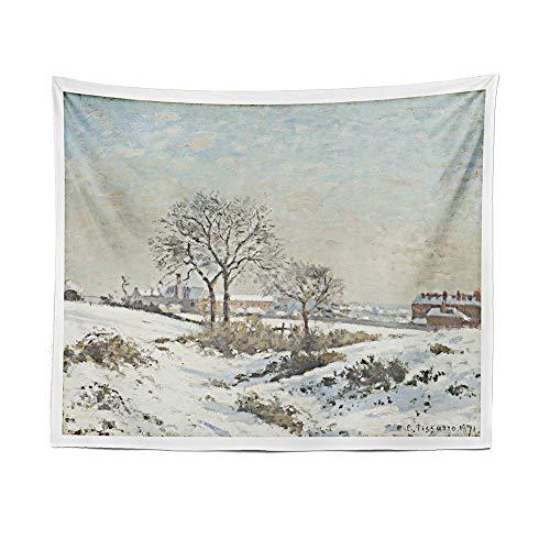 BQEE Camille Pissarro - Tapiz de pintura al óleo para colgar en la pared, tapiz bohemio, cortina de playa (180 x 231 cm, 2)