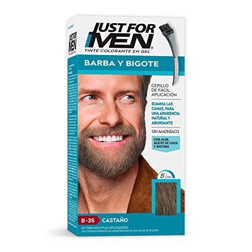 Just For Men Tinte Colorante en Gel para Barba y Bigote, Cubre las Canas, Color Castaño Oscuro Medio (B-35), 28.4 g