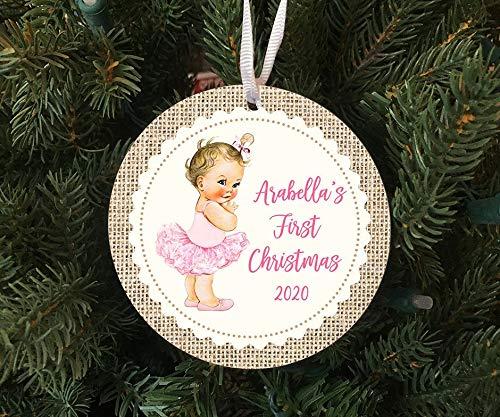 Lplpol Personalisierte Baby-Mädchen Ballerina First Christmas Vintage Style Ornament Weihnachten Ornament – 2020