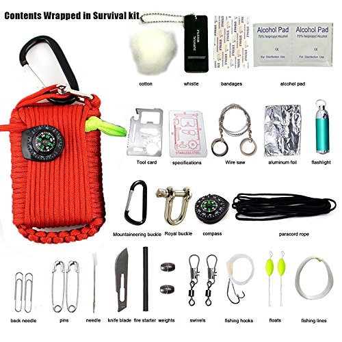 survie Pod, Survivalgrenade pour extérieur outils, 23 Accessoires pour la randonnée, le camping, et les urgences, Red