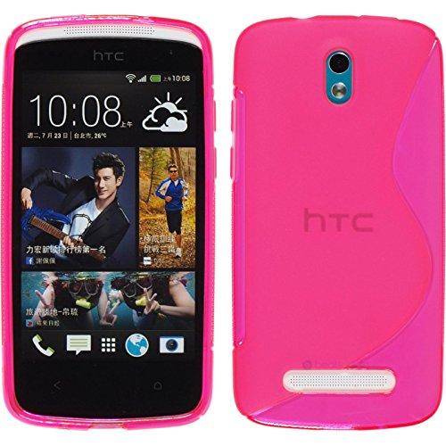 PhoneNatic Hülle für HTC Desire 500 Hülle Silikon pink S-Style Cover Desire 500 Tasche + 2 Schutzfolien