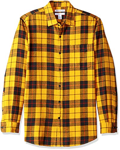 Amazon Essentials Men's Slim-Fit Long-Sleeve Flannel Shirt, Yellow, Large