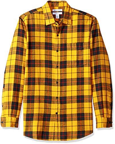 Amazon Essentials - Camisa de franela a cuadros, manga larga, ajustada, para hombre, Amarillo (Yellow Plaid), Large
