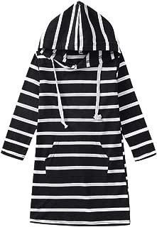 Children Girls Stripe Long Sleeve Dresses Slim Pencil Dresses with Hooded and Pocket