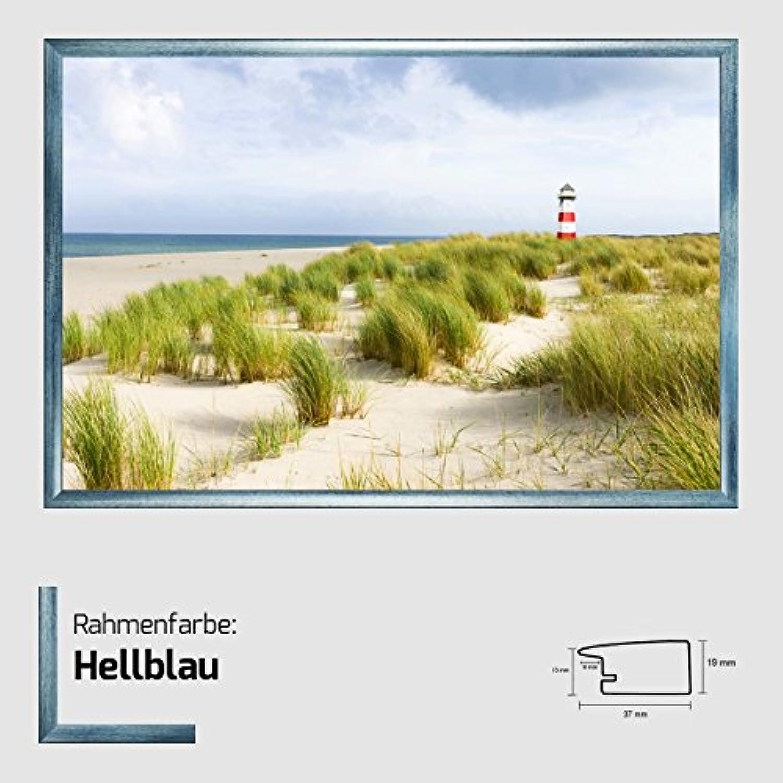 Kunstdruck Poster - Leuchtturm Motiv mit Dünen und Meer  Nordsee Idylle  Bild 80 x 120 cm mit MDF-Bilderrahmen Pisa & Acrylglas reflexfrei, viele Farben zur Auswahl, hier Hellblau