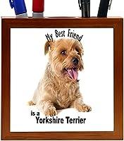 Rikki Knight My Best Friend is a Sitting Yorkshire Terrier Dog Design 5-Inch Tile Wooden Tile Pen Holder (RK-PH45038) [並行輸入品]