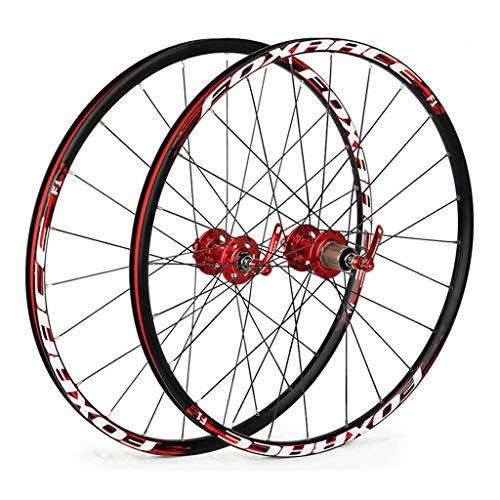 CHICTI 26 Pulgadas Ciclismo Wheels, Double Wall V-Brake Ultra-Ligeras 24 Agujeros Pared MTB Rim para 8/9/10/11 Deportes
