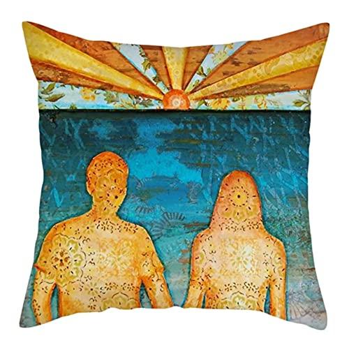 OEWFM Funda de Almohada para sofá Pintura al óleo Viaje Paisaje cojín mar Parejas Fundas de Almohada sofá Coche Silla decoración Fundas de Almohada 45X45 cm