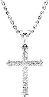 0.25 Carat (ctw) 10K Gold Round White Diamond Ladies Cross Pendant 1/4 CT (Silver Chain Included)