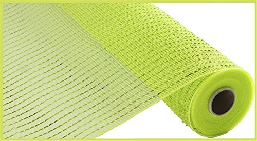 Wide Foil Deco Poly Mesh Ribbon, 10 Inches x 30 Feet (Apple Green, Lime Foil)
