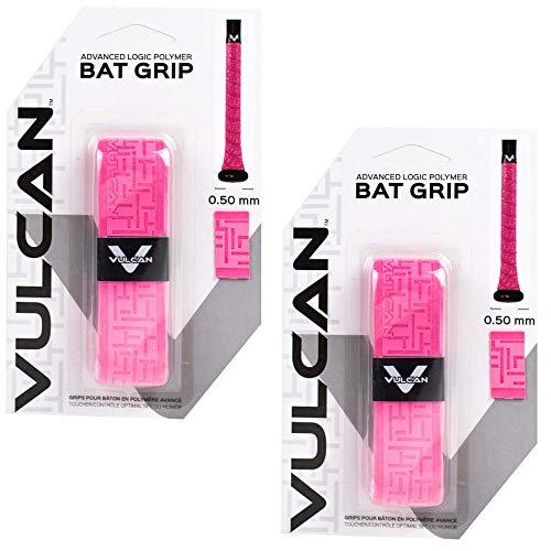 Vulcan Baseball Softball Bat Tape Grip - (.50 MM, 2-Pack, Optic Pink) - Bat Handle Wrap for Batting