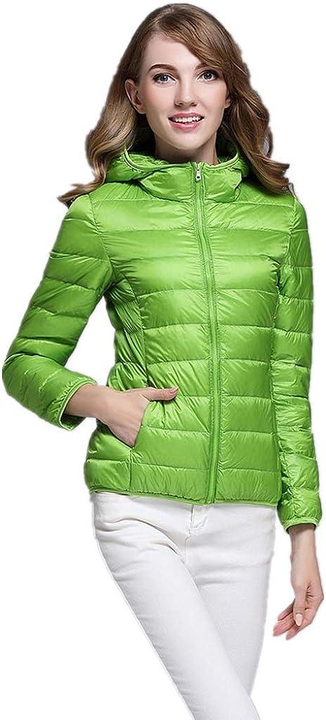 Doric Womens Hooded Down Jacket Lightweight Packable Puffer Down Coats Short Parka Jackets Winter Warm Coats(S-3XL) Green