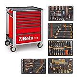 Beta Easy C24S Chariot à outils avec 7 tiroirs et assortiment de 29 outils, rouge