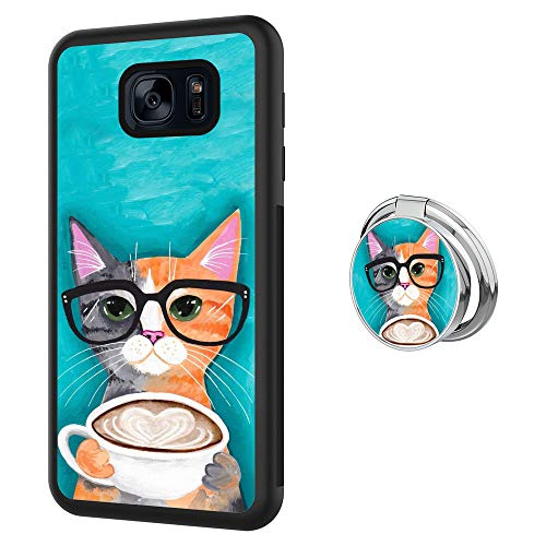 Case for Samsung Galaxy S7 case Cat Coffee With Ring Holder Slim Soft and Hard Tire Shockproof Protective Phone Cover Case Slim Hybrid Shockproof Protective Case Anti-Scratch Cushion Bumper with Reinf