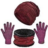 Yuson Girl 3 Pcs Pack Ensembles De Bonnet Écharpe Et Gants Crochet Tricot Chauffant Tour De Cou...