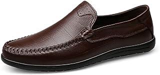 Mocassins à Boucle élégants pour Hommes Mode Mocassins Cousus for Hommes Bout Rond Slip on en Cuir Véritable Léger Confort...