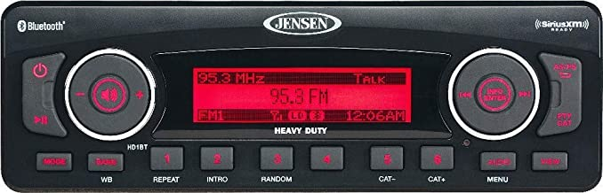 Jensen HD1BT AM/FM/WB/USB/SiriusXM Ready/Bluetooth Stereo with Full iPhone/iPod Controls, 50W x 4 Maximum Power Output, Bluetooth Streaming Audio (A2DP, AVRCP), AM/FM tuner (US/Euro) (Renewed)