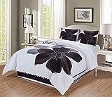 4 - Piece Grey, White, Black Hibiscus Floral Comforter Set King Size Bedding