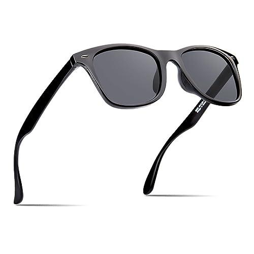 c2f24472e2 Polarized Sunglasses For Men Retro Black Frame Shades Classic Sun Glasses