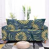 Funda Sofa Chaise Longue Brazo Derecho Hojas Florales Amarillas Fundas de Sofa Elasticas Fundas para Sofá Ajustables Estampada Cubre Sofa con 1 Funda de Cojín