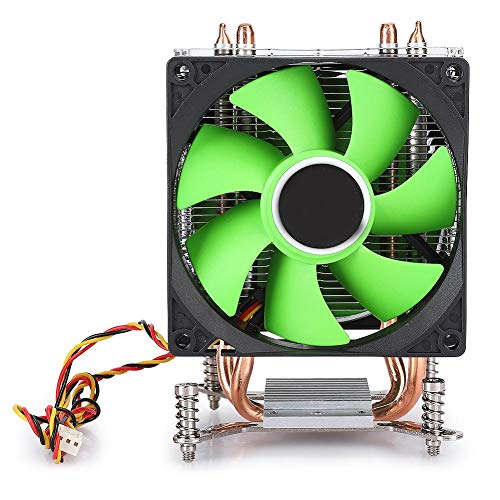 Ventilador de CPU, Enfriador de CPU Ventilador Doble de 3 Cables Tubo de Cobre Dual no Ligero para A-M-D/A-M-D3/AM4/FM1/FM2(Verde)