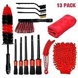 Set di spazzole per auto 13 pezzi, kit spazzole di dettaglio 5 pezzi, 1 spazzola per puliz...