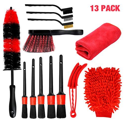 SUPAREE 13 Pcs Set de Cepillo Limpieza Coche,Cepillo para Ruedas Yllantas,Kit de Detailing Coche,Pincel Limpieza de Detalles...