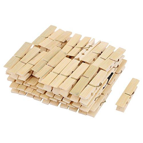 sourcing map Pinces à Linge en Bambou à Ressort pour Chaussettes Beige 60Pcs