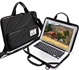 Laptop Case for Macbook Chromebook HP Lenovo Work-in Notebook Computer Hard Shell Laptop Bag with Pouch (Black, 13-14 inch laptop case)