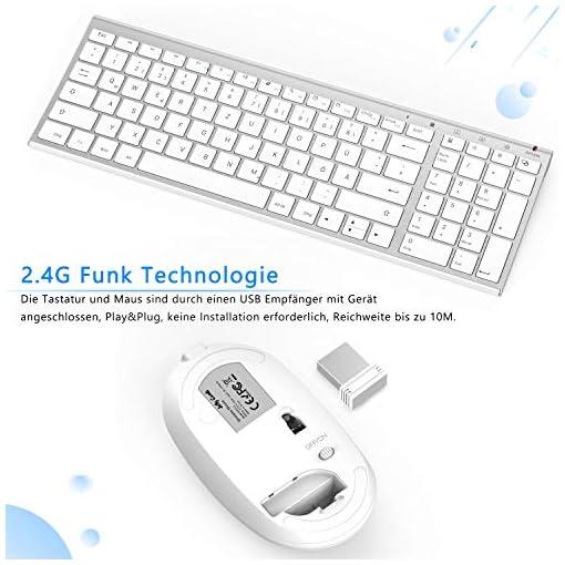 Jelly Comb Juego de ratón y teclado inalámbrico recargable QWERTZ ultra delgado de 2.4Ghz para PC, computadora de… 6