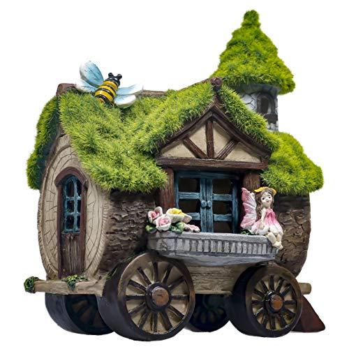 TERESA'S COLLECTIONS Vierradhaus Garten Feen Solarleuchte mit beflocktem Dach Feenhaus Gartenfigur für Außen aus Kunstharz 21cm Wasserfest Fairy Garden mit Miniatur Fee und Biene für Balkon Terrasse
