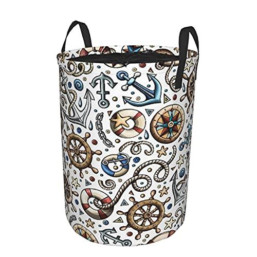 Cesta de almacenamiento, dibujos animados dibujados a mano náutica marina de patrones sin fisuras, cesto de lavandería grande plegable con asas 19'x14'