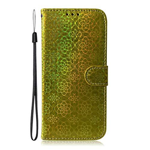 Fatcatparadise Cover Compatibile iPhone XS Max (6,5 Pollici) [con Pellicola in Vetro Temperato], Glitter Bling Cuoio Portafoglio Flip Case 3D Wallet Case Custodia in PU Cover (Oro)