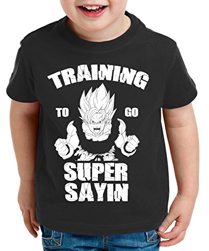 WhyKiki Training to go Super Saiyan Camiseta para Niños T-Shirt Goku Dragon Master Ball Vegeta Turtle Roshi Db, Farbe2:Negro;Kinder T-Shirt Größe:152/164