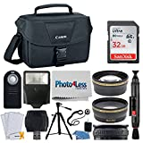 Canon EOS Bag 100ES + 32GB Memory Card + 58mm Telephoto & Wide Angle Lens + Flash + Remote + Tripod + Card Reader Top Accessory Bundle for Canon T6, T6i, T7i, 80D, 77D, SL2 with 18-55mm STM Lens