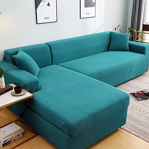 Funda de sofá antirrugas Antideslizante 2 plazas, juego de fundas de sofá de esquina de color sólido para sala de estar, fundas de sofá elásticas, toalla de sofá elástica, sofá en forma de L