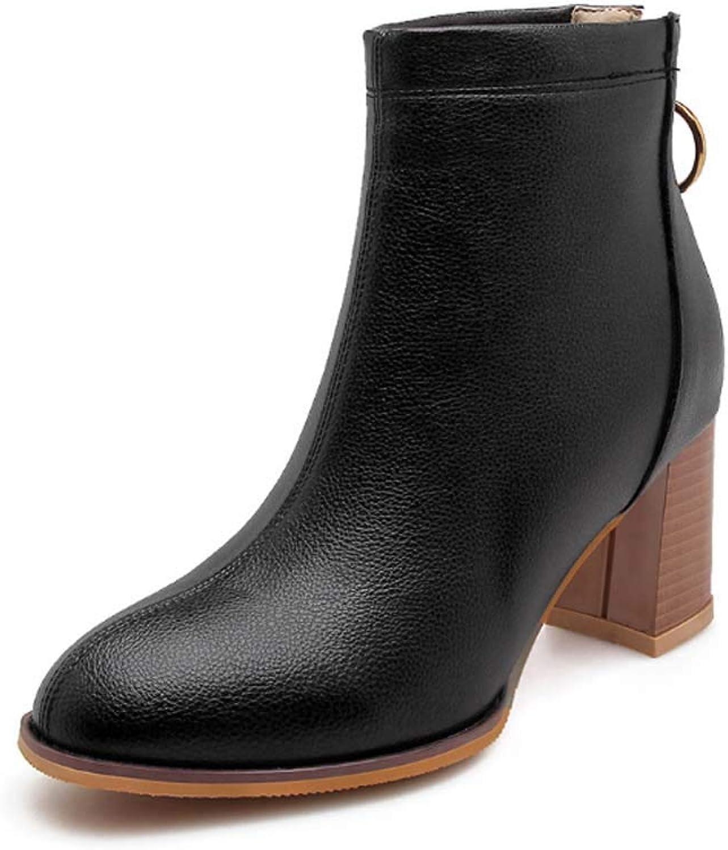 Women Boots Winter Warm Ankle Boots Genuine Leather Zip Chelsea Boots Ladies Low Block Heel Black Size 32-43
