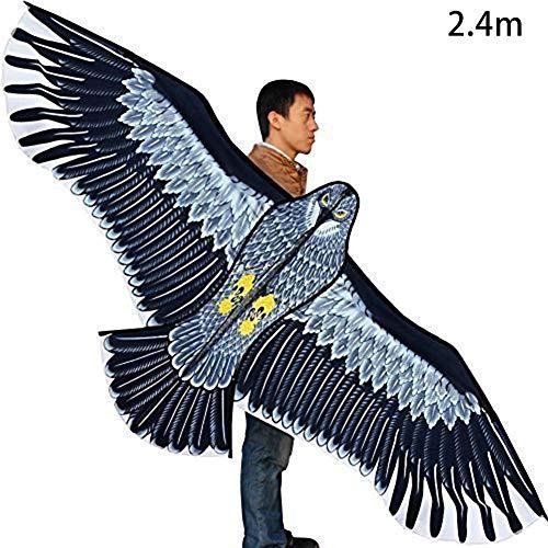 Adlerförmiger Drachen, Drachen für Kinder und Erwachsene, leicht zu fliegen, Winddrachen mit Drachenschnur für Mädchen Jungen Erwachsene - 1,8 m / 2,4 m