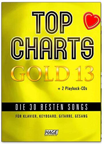 Top Charts Gold 13 (mit 2 CDs): 30 besten Songs für Klavier, Keyboard, Gitarre und Gesang - Songbook mit 2 CDs und bunter herzförmiger Notenklammer - Hage Musikverlag EH3975 9783866264892