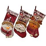 Auoinge - Calcetines de Navidad, 3 Piezas, 45,7 cm, diseño de Papá Noel con Renos de Nieve, decoración con Lazos para Colgar